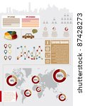 Infographic elements with maps, charts and icons - stock vector