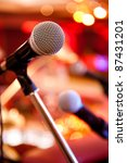 microphone and concert light - stock photo