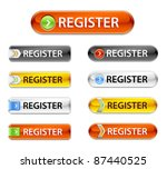 New web glossy register buttons. Registration sign board rectangular. - stock vector