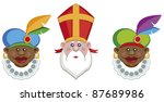 Portraits of Sinterklaas and his colorful helpers isolated on white background - vector - stock vector