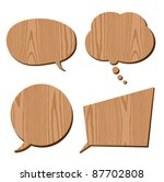 speech bubble collection wood plank grain - stock vector