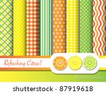 Citrus fruit  digital scrapbooking paper swatches in with ribbon and fruit slices. EPS10 vector format. - stock vector