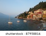 A view of the gorgeous fishing village of Varenna on Lake Como in Italy - stock photo