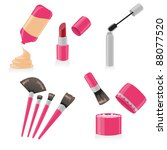 Vector set of different make up - stock vector