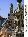 Beautiful ceramic ornaments in ornate Trinidad square - stock photo