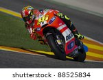 VALENCIA, SPAIN - NOVEMBER 9: Valentino Rossi in the official motogp test with new 1.000cc engines, Ricardo Tormo Circuit of Cheste, Spain on november 9, 2011 - stock photo
