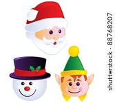 Christmas Heads - stock vector