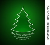 Merry Christmas and Happy New Year card with green christmas tree. Vector illustration - stock vector