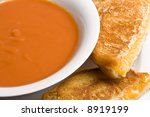grilled cheese sandwich on a white plate shot with a macro lens - stock photo