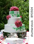 a three tiered wedding cake - stock photo