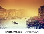 Grand Canal at a foggy evening. Venice - Italy - stock photo