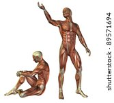 3D Rendering - Muscle man standing and sitting - stock photo