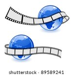 globe with film strip - stock vector