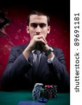 Portrait of a poker player. - stock photo