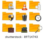 Folder with different icons, isolated on white background vector illustration - stock vector