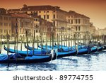 Grand Canal and gondolas - stock photo