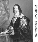 Charles I (1600-1649). Engraved by A.H Payne and published in The National and Domestic History of England, United Kingdom, 1890. - stock photo