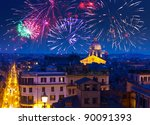 Celebratory fireworks over Rome. Italy - stock photo