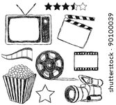 movie doodle collection - stock vector