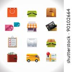 Vector shopping icon set - stock vector