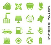 Recycling and clean energy icon set - stock vector