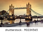 London's Tower Bridge at twilight - stock photo