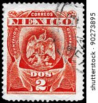 MEXICO - CIRCA 1899: A Stamp printed in MEXICO shows the Heraldic Eagle, series, circa 1899 - stock photo