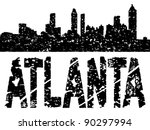 Grunge Atlanta skyline with text illustration - stock photo