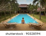 Swimming pool in spa resort in Thailand - stock photo