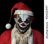 Scary Santa clown glaring at you. Isolated on a black background. - stock photo