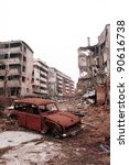SARAJEVO, BOSNIA - DECEMBER 1: The city of Sarajevo stands in ruin after three years of siege and civil war on Dec 1, 1996 in Sarajevo, Bosnia. - stock photo