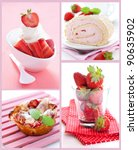 collage with strawberries, cake and ice cream - stock photo