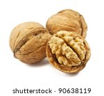 walnuts on a white background - stock photo