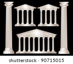A vector illustration of a classical style white marble temples and pillars. Isolated on black background. EPS10 vector format - stock vector