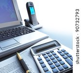 Calculator, telephone, computer. - stock photo