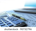 Calculator, computer, pen. - stock photo