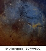The Elephant Trunk Nebula, IC 1396, in the Hubble Palette - stock photo