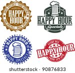 Happy Hour Bar Specials - stock vector