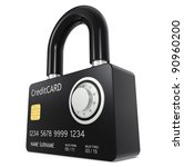 Secure online payment. Credit Card made like a Padlock, with Combination Lock - stock photo