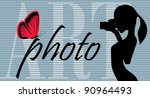 girl is shooting butterfly, vector - stock vector