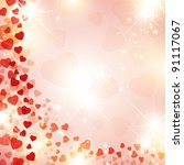 Valentine day background with red drapery and stars - stock photo