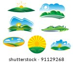 Ecological and nature symbols isolated on white, such as emblem or logo template. Jpeg version also available in gallery - stock vector