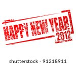 New year 2012 stamp - stock vector