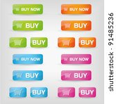 buy buttons in different colors - stock vector
