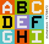 8-Bit Pixel Alphabet Letters Set 1: ABC DEF GHI - stock vector