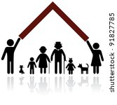 Protection people silhouette family icon. Person vector woman, man. Child, grandfather, grandmother, dog, cat. Home illustration. - stock vector