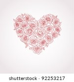 vector heart of roses - stock vector
