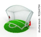 3D Concept Football Net Gate on White Background - stock photo