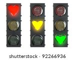 Set of traffic light with heart shaped red, yellow and green lamps isolated on white background - stock photo