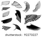 Set of bird wings for heraldry design, such a logo. Jpeg version also available in gallery - stock vector